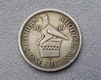 Southern Rhodesia Coins ~ 1 Shilling (One Shilling) ~ 1947 ~ King George VI, Copper-Nickel ~ rhd02