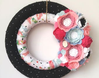 Wreath - Spring Double Wreath - Floral Wreath - Felt Flowers - Black and Pink Wreath - Spring Wreath - Unique Wreath - Shabby Chic Wreath