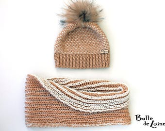 Women hat and scarf, infinity scarf, women hat, beige and white, Tunisian Crochet and knitting