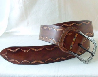 Leather belt dark brown tooled 5cm, with buckle