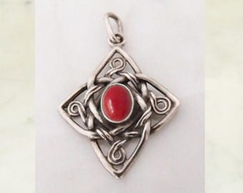 """Silver Pendant with coral """"Celtic Cross"""""""