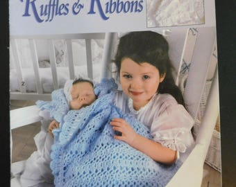 Ruffles and Ribbons Crochet 5 Designs  By Anne Halliday for Leisure art  leaflet Print date 1998