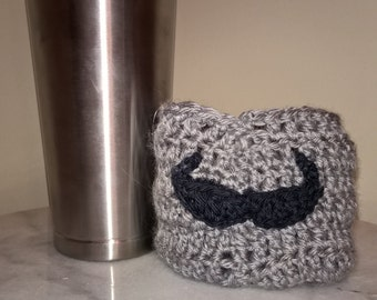 Mustache cozy. Mustache you a question. disposable coffee cup, environmental friendly.