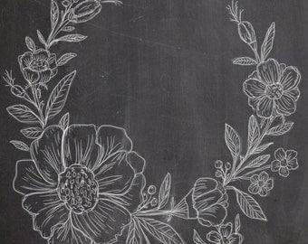 Hand Drawn Chalkboard Flower Wreath- line drawing, flowers, plants, botanical, rustic, romantic