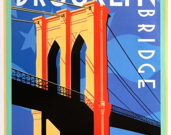 Brooklyn Bridge New York. Travel poster.