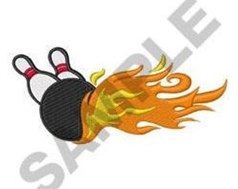 Flaming Bowling- Machine Embroidery Design