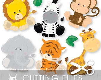 Baby Safari Animals cutting files, svg, dxf, pdf, eps included-Jungle animals cutting files for cricut and cameo - Cutting Files SVG - CT711