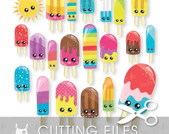 Kawaii Popsicles cutting files, svg, dxf, pdf, eps included - cutting files for cricut and cameo - Cutting Files SVG - CT1002