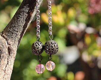 Handmade Boho Bead and Chain Earrings