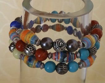 Marbles - bracelet with paper beads