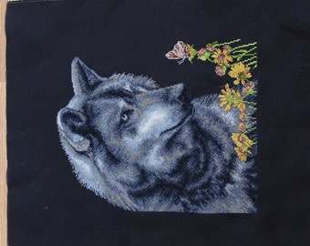 Wolf on black background wild animals handmade cross-stitch embroidery