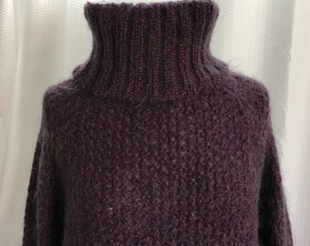 Vintage Mohair Sweater, Size Large Purple Turtle Neck, Long Sweater Dress