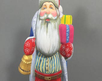 """Wooden Russian Santa with Bell (Father Frost, Ded Moroz) Blue/Pink 6.7"""" Hand carved / painted Christmas decoration Collectible"""