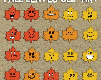 Fall Leaves Clip Art, COMMERCIAL USE Clipart, Fall Clip Art, Foliage Clip Art, Autumn Clip Art, Color Emoticon, Four Seasons, Emoji Download