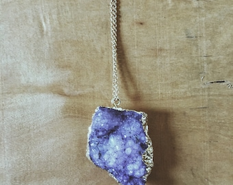 Purple Geode Crystal & Gold Leaf Necklace with Gold Chain