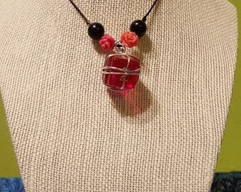 Pink D6 wire wrapped pendant necklace