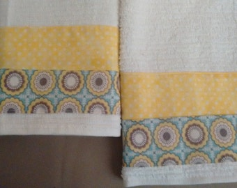 2 Yellow and Blue Dish Towels