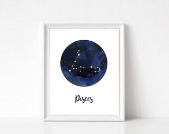 Pisces Print, Pisces Constellation Print, Zodiac Print, Zodiac Constellation Print, Pisces Wall Decor, Pisces Wall Art, Zodiac Wall Decor