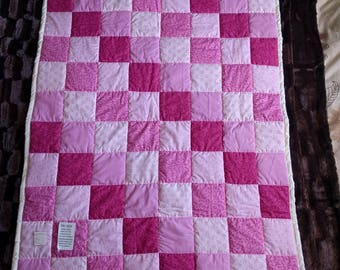 Baby Girl Pink Cot Patchwork Quilt