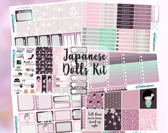 Planner Stickers Weekly Kit Japanese Dolls Sakura Asian EC Vertical Full Box