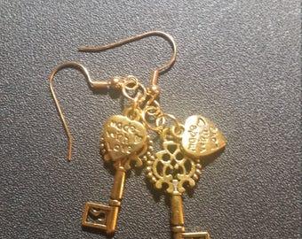 Bright Gold Ornate Key and Heart Dangle Earrings
