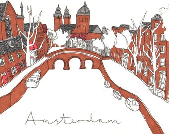 Amsterdam Canal Scene in Fine Liner - Coloured Illustration Line Drawing Print