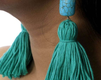 Turquoise Stone Tassel earrings Turquoise Earrings Statement Earrings bohemian earrings Handmade earrings Colourful Earrings Dangle earrings