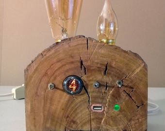 NIXIE BULB CLOCK Wood Lamp