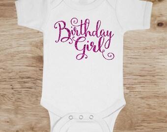 1st Birthday Girl Onesie, Glitter Birthday Girl bodysuit, Birthday Glitter Outfit, Pink Birthday Onesie, Pink Glitter Birthday Bodysuit