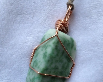 Amazonite, crystal, copper wire wrapped, bamboo cord