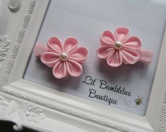 Kanzashi flower hair clips set, handmade flower hair clips set for girls, toddlers or babies-1 pair