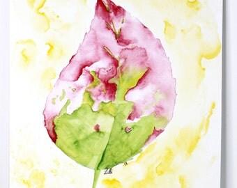 Green & Pink Leaf ORIGINAL Watercolor Painting