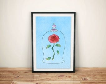 Beauty and Beast Print-Printed Beauty and Beast-Disney Belle Art-Kids Disney Belle-Disney Belle Prints- Disney Belle Prince Prince-The Rose