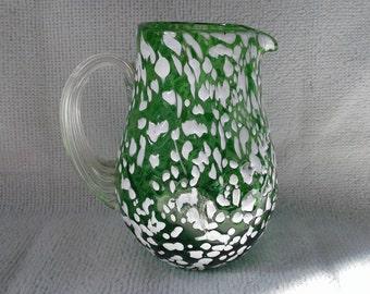 Cute Vintage Pilgrim Hand Blown Glass Mini Green and White Splatter Pitcher or Creamer Jug