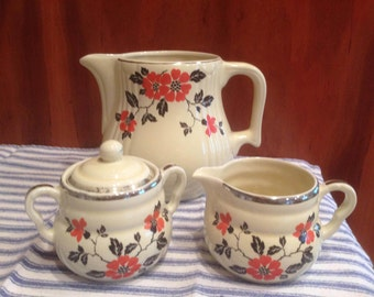 Vintage Hall Superior Quality Kitchenware Red Poppy Water Pitcher, Creamer and Sugar