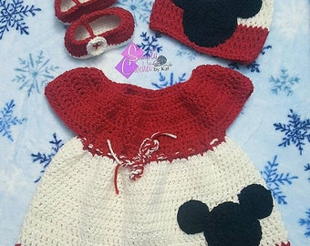Minnie Mouse Inspired Crochet Dress Set