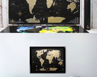 Full Color Deluxe Black Scratch Off Map - Places I've Been World Travel Map – Great Scratchable World Map Gift