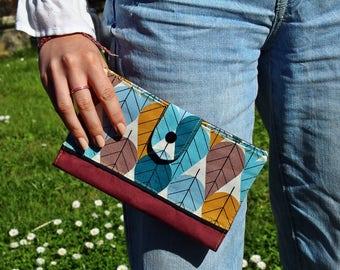 Wallet / checkbook holder / wallet for women 100% cotton Burgundy, blue and mustard
