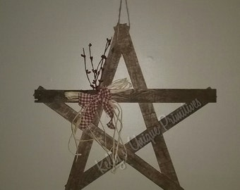 "18"" Wooden Country Star Handmade Wall Decor Wooden Stars Country Home Decor Primitive Decor Rustic Signs Country Wooden Decor Rustic Star"