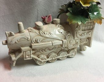 Large Capodimonte Train with Flowers (#012)