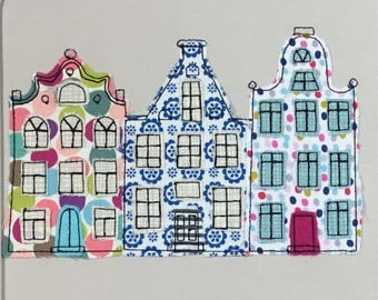 FUNKY Dutch House Raw Edge Applique - looks like Free Motion but is an ITH Embroidery Design - by Pixie Willow Patterns