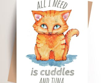 Printable Card, Cat Card, Cat, Watercolor, Illustration, Orange, Cat Lady, Cat Lover, Gift For Cat Lover, Digital Download, Instant Download
