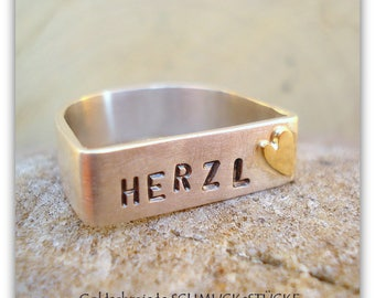 Silver ring - wedding ring with Herzl - handmade in 925 Silver with a heart of 585er gold