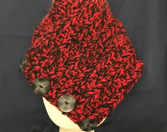 Women's Red/Black Cowl Scarf