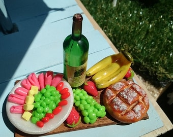 Polymer clay miniature scene with fruits bread wine for Barbie size dolls
