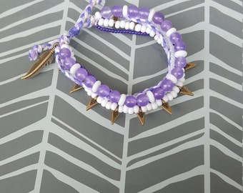 Adjustable Multistrand Bracelet - Purple and White
