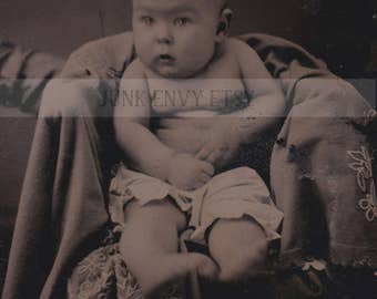 Antique Tintype Photograph . Civil War Era Baby . Digital Download . High Resolution Scan