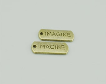 20x8mm Antique Bronze Imagine Charm Pendants,Letters Pendants ZT38