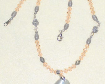 Peach Crystal & Gray Cat's Eye Beaded Necklace With A Gray Cat's Eye Pendant