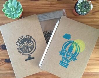 SALE: A5 Notebooks Stationary Set, 2 x Notebooks 1 x Pencil Handmade Lino Print